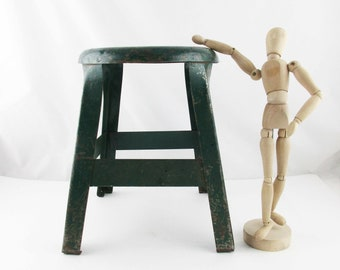 A Chippy Green Painted Stool - Primitive Metal Foot Stool - Painted Dark Green - Sturdy - All-purpose - Banged Up and Beautiful