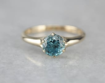 Antique Blue Zircon Solitaire, Birthstone Ring, Blue Zircon Gold Ring, Right Hand Ring 93RUDY-D