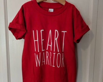 Heart Warrior Shirt // Youth 8-12yrs T-Shirt //  CHD Awareness