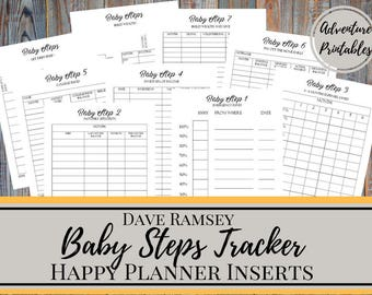 Baby Steps Tracker Printable Planner Pages For The Classic Happy Planner, Dave Ramsey Financial Peace Program Planner, Debt Snowball Planner
