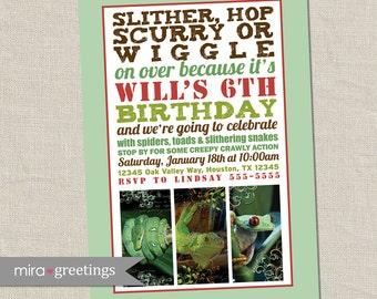 Reptile Birthday Party Invitation Invite - Printable Digital File
