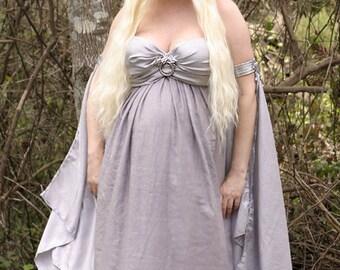 Daenerys Targaryen Costume Wedding Dress Game of Thrones Khaleesi Cosplay Silver Grey Gown Size Adjustable 8 - 14