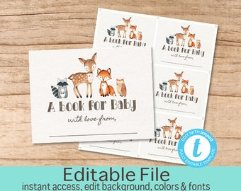 Bookplate Card, Woodland Animal Book plate, Printable Sheet, Woodland Deer Bookplate Stickers, Editable Template, Templett, Instant Download