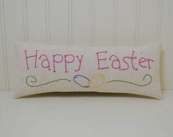 Happy Easter Decorative Pillow - Hand Embroidered Jelly Beans Accent Pillow - Spring Shelf Sitter - Pink Home Decor - Osnaburg