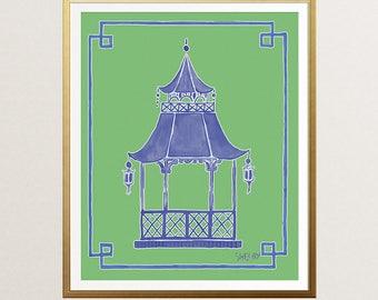Blue Pagoda Art, Preppy Wall Decor, Chinoiserie Pagoda, Green Pagoda Painting, Palm Beach, Hollywood Regency, Green Pagoda Art