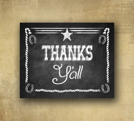 Thanks Yall - Western style Thank you Chalkboard Sign -  Western Buffet Chalkboard signage - 3 sizes with optional add ons
