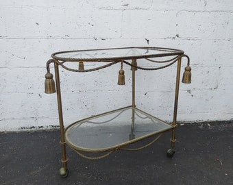 Hollywood Regency Distressed Brass Finish Rope and Tassel Tea Wagon 8827