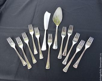 Vintage Cake Set Silver color Cake Server and Cake Knife  Cake Forks Antique Wedding Cutlery Made in Italy