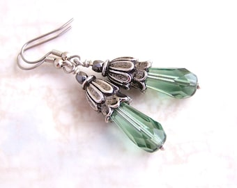 Sea Green Earrings with antique silver bead caps in a Victorian Style - blue green Czech glass beads - grayed jade