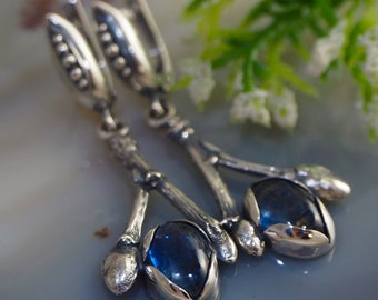 Kyanite Earrings Blue Gemstone Sterling Silver Jewelry