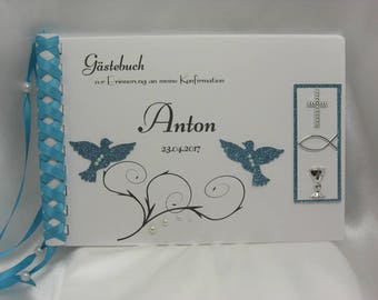 Guestbook for confirmation pigeons in blue