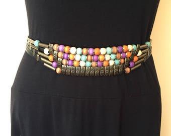 Colorful wooden and metal bead belt, boho belt, gypsy belt, artisan belt, multicolor belt, statement belt, whimsical accessories, bohemian