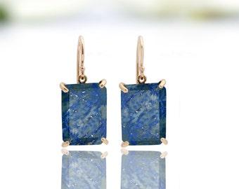 14k rose gold earrings,Lapis lazuli earrings,Lapis earrings,rose gold jewelry,rose gold stone earrings,pink gold earrings