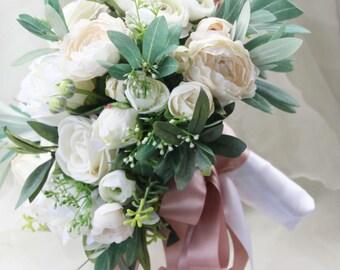 Silk Wedding Bouquet, Boho Bouquet, Bridal Bouquet, Silk Flowers, Artificial Bouquet, Wedding Flowers, White, Cream and Green, Olive foliage