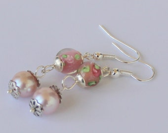 Pink Roses with Lavender Cultured Pearls Earrings