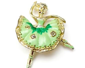 Ballerina Dancing Brooch -  green Enamel - Yellow gold metal - light lime green - Figurine pin