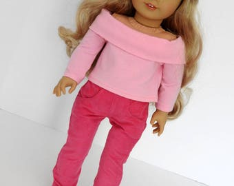 AG Doll Clothes Handmade Off Shoulder Top and Corduroy Skinny Jeans