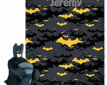 """Batman Black Knight Hugger Pillow and 40"""" by 50"""" Fleece Throw Set  PERSONALIZED"""