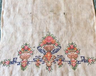 Cross stitch dresser scarf