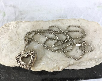 Vintage 925 Sterling Silver Filigree Cut Out Heart Pendant 24 inch Sterling Chain