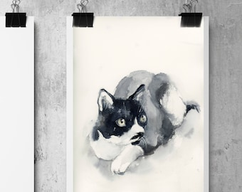Cat Original Watercolor Painting, Cat painting, pet painting, cat watercolor art, painting of cat, cat portrait painting