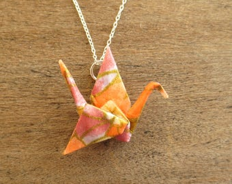 Colorful Origami Necklace, Cute Paper Crane Necklace, Kawaii Asian Japanese Pendant Jewelry