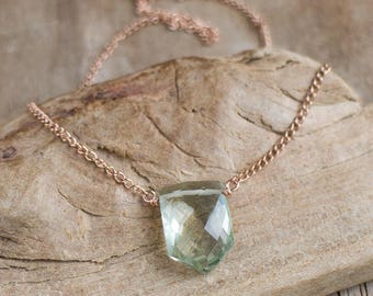 Green Amethyst Necklace, Geometric Necklace, Gold Silver Praisolite Jewellery, February Birthstone Necklace, Minimalist Gemstone Pendant