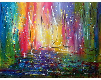 Boats at Sunset Large Abstract Rainbow Colors Painting Inspired by Pollock Expressionist Art by Luiza Vizoli 40x30x1.5