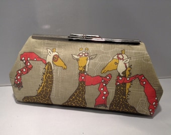 Whimsical Giraffes Clutch Purse with Silver Finish Snap Close Frame