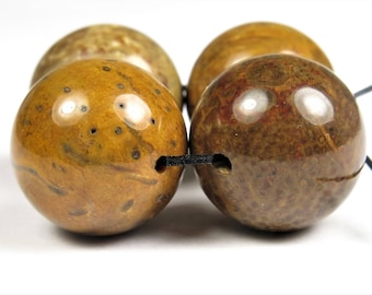 GREAT SALE - was 14.49 - Unique Beautiful Petrified Fossilized Palm Wood Agate Large Round Bead - 16mm - 4 beads - B8886