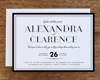 Printable Wedding Invitations - Black Border- Black and White Printable Wedding Invitation Template - Black Border Printable Invitation