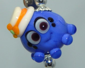Squeedle Charm Clip Lampwork Lanyard Charm Blue Ivory Yellow Octopus Cute Character Sea Life Fun