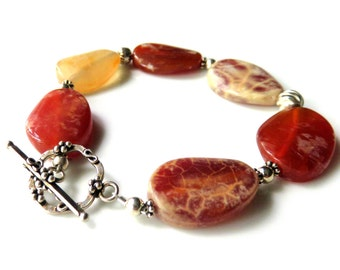 Agate Gemstone Bracelet, Orange Oval Stones, Sterling Silver Toggle Clasp, Bright Autumn Colors, Unique Bracelet Gift for Her