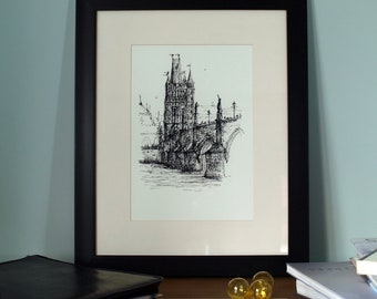 Charles Bridge sketch | Prague Print | Prague Art | Prague Wall Art | Prague urbansketch