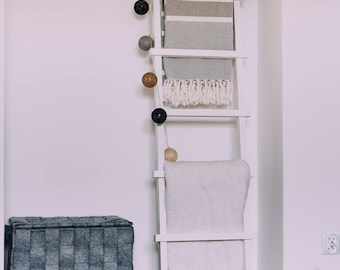 Wooden blanket ladder country