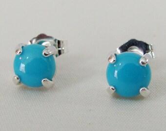 Sleeping Beauty Turquoise Stud Earrings, Sterling Silver, Arizona Turquoise, Post Earrings, December Birthstone Jewelry, Turquoise Gemstone