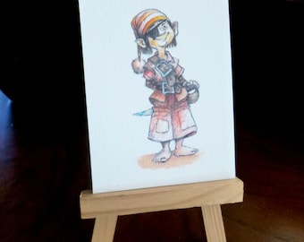 Original illustration matte print ACEO 3.5 x 2.5, home decor, collectible art, fantasy art, textured paper, archival ink, Little pirate
