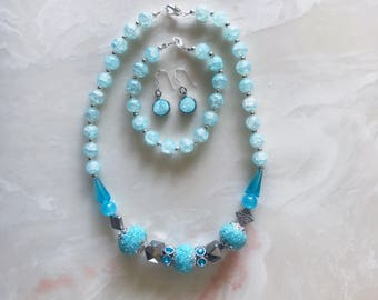 Statement Jewelry Set // Hand-Beaded Necklace, Bracelet & Stone Earrings (Ready to Ship)