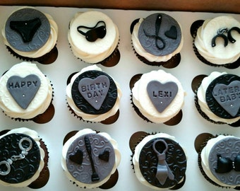 50 Shades of Grey inspired Cupcake toppers