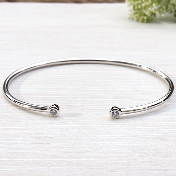 cubic zirconia and 925 sterling silver Bangle Bracelet