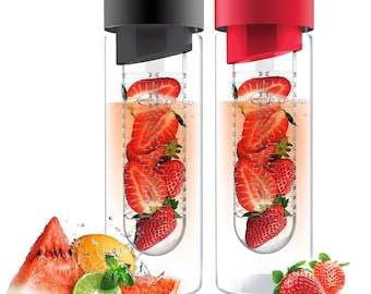 asobu Fruit Infuser Glass Flavor it Water Bottle For Naturally Flavored Water by Asbou 20 Oz (2 Pack) Smoke/Red