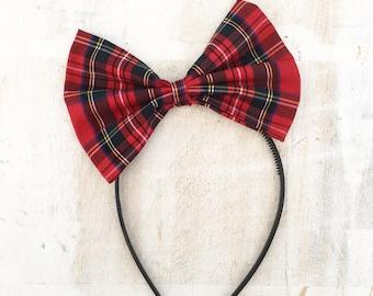 Red tartan plaid check print bow headband, Pin up girl
