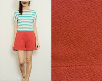 Handmade Vintage Cotton High Waist Shorts, Small, Medium ;Large  [Cate shorts/coral red]