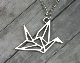 Origami Crane Necklace - Origami Necklace - Bridesmaid gift - Valentines Day - Gifts for Her - Origami - Crane - Bird Necklace - Wedding