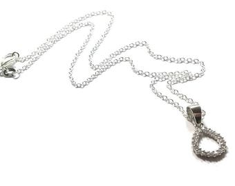 Sterling Silver Cubic Zirconia Teardrop Pendant  Necklace , Gift For Her
