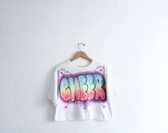 Airbrushed Cheer Cropped Tee