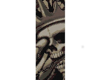 Instant Download Beading Pattern 2 Drop Peyote Stitch Bracelet Crowned Skull Seed Bead Cuff