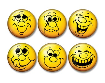 Emoticons, yellow emoticons, happy faces, expression faces, fridge magnets, magnets, locker magnets, pinback buttons - MA0913