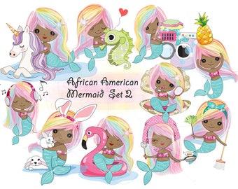 Rainbow hair African American Mermaid Clip art set 2 , instant download PNG file - 300 dpi