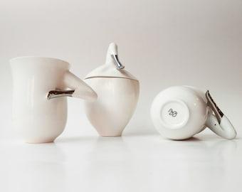 Porcelain Set of Handmade Sugar Bowl and Two Mugs with Platinum, Unique Ceramic Design, Ceramics and Pottery